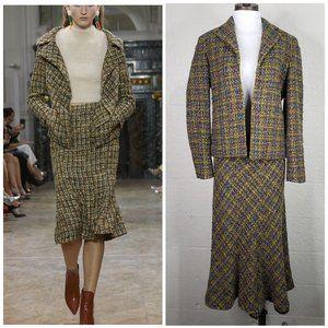 Jones New York Signature Wool Multi Color Tweed Open Jacket & Peplum Skirt Set 4